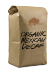 Bag of Organic Mexican Decaf Coffee.